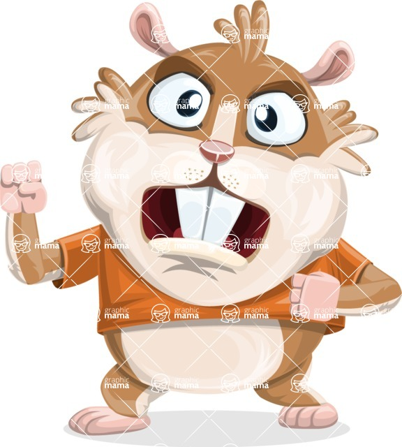 Hamster Cartoon Vector Character AKA Bean McRound - Angry