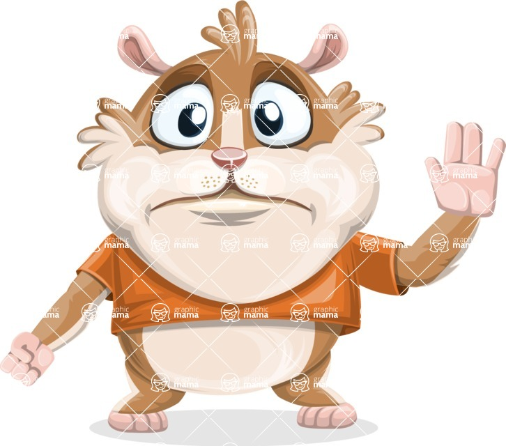 Hamster Cartoon Vector Character AKA Bean McRound - Goodbye