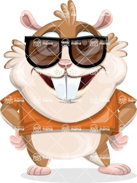 Hamster Cartoon Vector Character AKA Bean McRound - Sunglasses