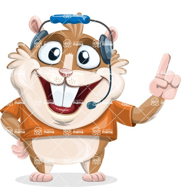 Hamster Cartoon Vector Character AKA Bean McRound - Support 2