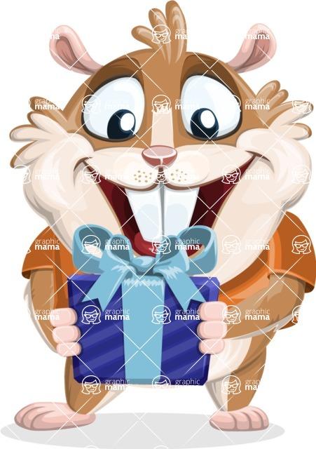 Hamster Cartoon Vector Character AKA Bean McRound - Gift