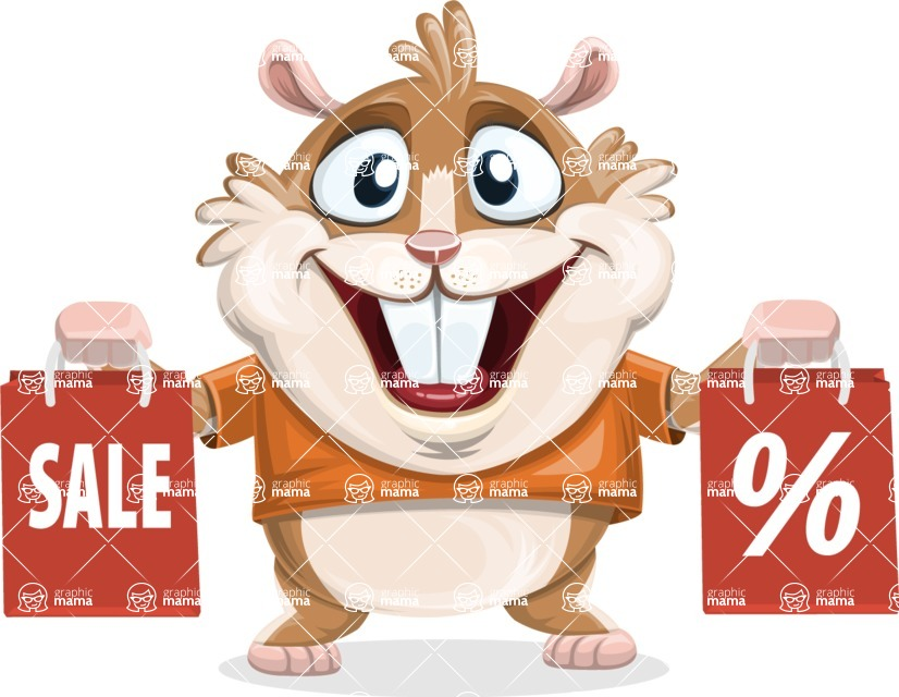 Hamster Cartoon Vector Character AKA Bean McRound - Sale 2