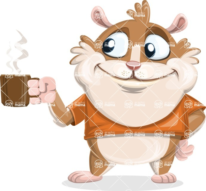 Hamster Cartoon Vector Character AKA Bean McRound - Coffee
