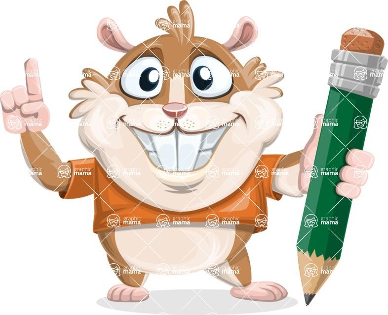 Hamster Cartoon Vector Character AKA Bean McRound - Pencil