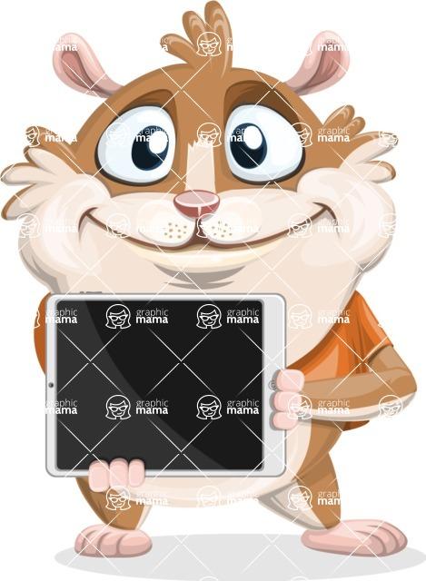 Hamster Cartoon Vector Character AKA Bean McRound - iPad 2