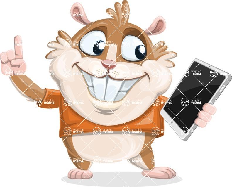 Hamster Cartoon Vector Character AKA Bean McRound - iPad 3