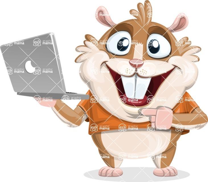 Hamster Cartoon Vector Character AKA Bean McRound - Laptop 1