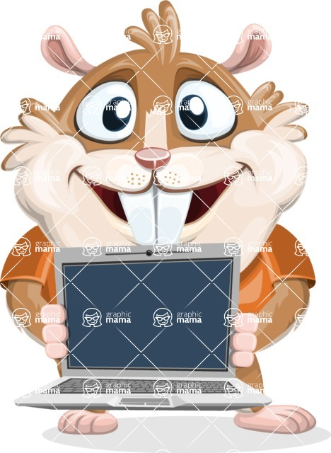 Hamster Cartoon Vector Character AKA Bean McRound - Laptop 2