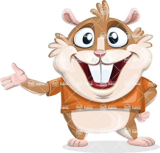 Hamster Cartoon Vector Character AKA Bean McRound - Showcase 2