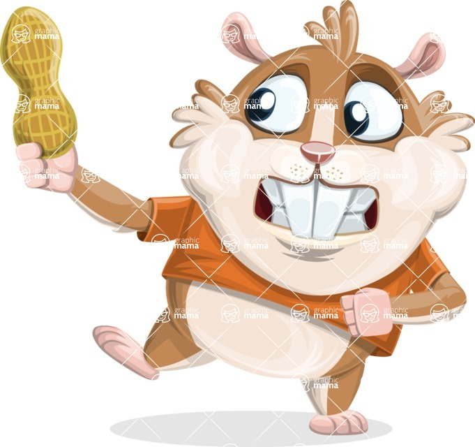 Hamster Cartoon Vector Character AKA Bean McRound - Peanut