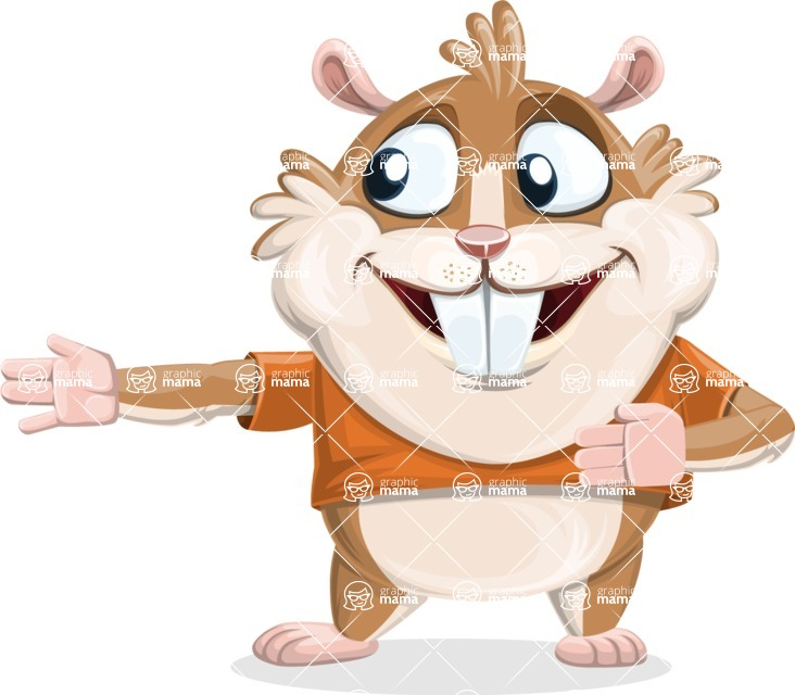 Hamster Cartoon Vector Character AKA Bean McRound - Show 2