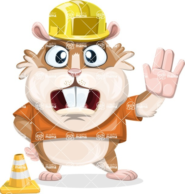 Hamster Cartoon Vector Character AKA Bean McRound - Under Construction 1