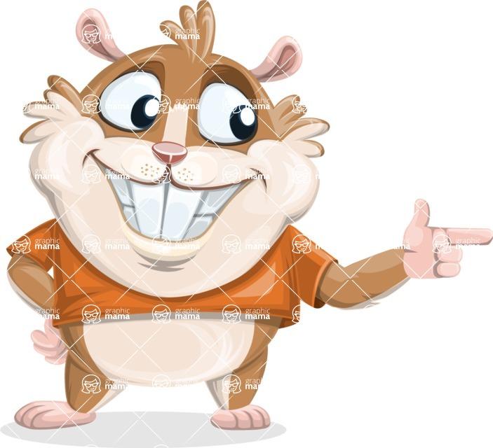 Hamster Cartoon Vector Character AKA Bean McRound - Point