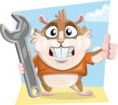 Hamster Cartoon Vector Character AKA Bean McRound - Shape 9