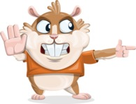 Hamster Cartoon Vector Character AKA Bean McRound - Direct Attention 2