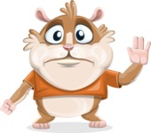 Hamster Cartoon Vector Character AKA Bean McRound - Goodbye