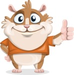 Hamster Cartoon Vector Character AKA Bean McRound - Thumbs Up