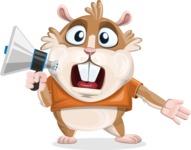 Hamster Cartoon Vector Character AKA Bean McRound - Loudspeaker
