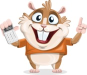 Hamster Cartoon Vector Character AKA Bean McRound - Calculator