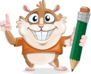 Hamster Cartoon Vector Character AKA Bean McRound - Pencil