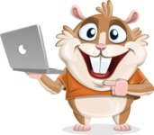 Hamster Cartoon Vector Character AKA Bean McRound - Laptop 1
