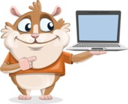Hamster Cartoon Vector Character AKA Bean McRound - Laptop 3