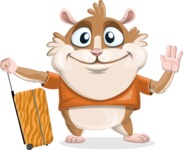 Hamster Cartoon Vector Character AKA Bean McRound - Travel 1
