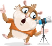 Hamster Cartoon Vector Character AKA Bean McRound - Telescope