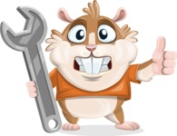Hamster Cartoon Vector Character AKA Bean McRound - Repair