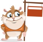 Hamster Cartoon Vector Character AKA Bean McRound - Sign 9