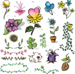 Vector Hand Drawn Elements Mega Bundle - Colorful Hand Drawn Floral Design Elements