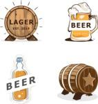 Vector Hand Drawn Elements Mega Bundle - Beer Hand Drawn Items and Logo Templates Vector Graphics Set