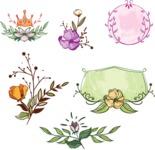 Vector Hand Drawn Elements Mega Bundle - Colorful Hand Drawn Floral Elements Vector Set