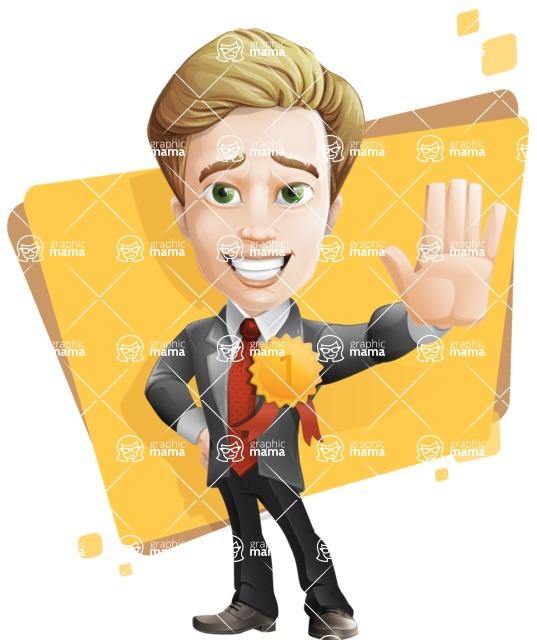 male cartoon character, elegant blond man vector - Shape5