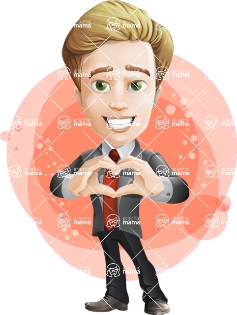 male cartoon character, elegant blond man vector - Shape7