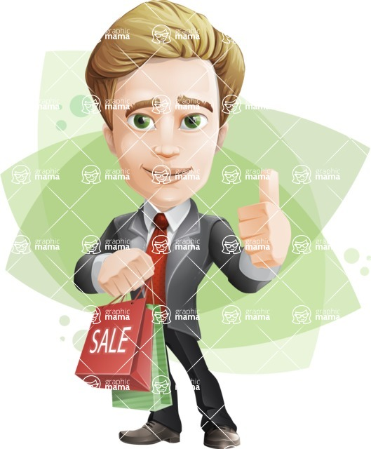 male cartoon character, elegant blond man vector - Shape8