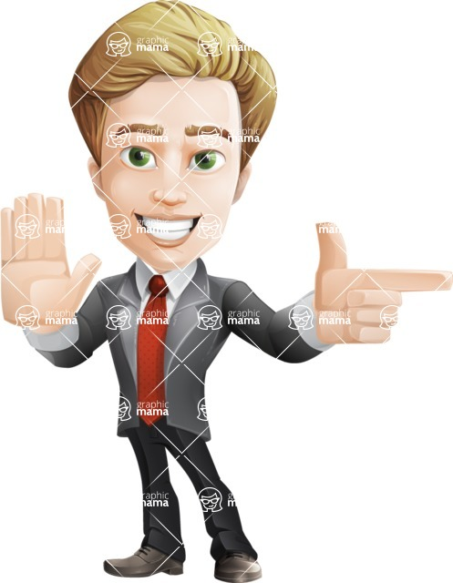 male cartoon character, elegant blond man vector - Direct Attention