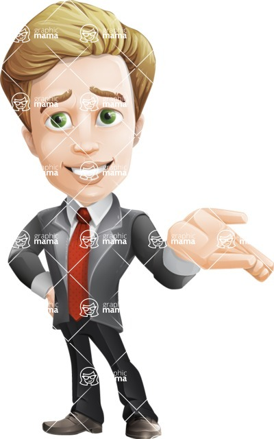 male cartoon character, elegant blond man vector - Sorry