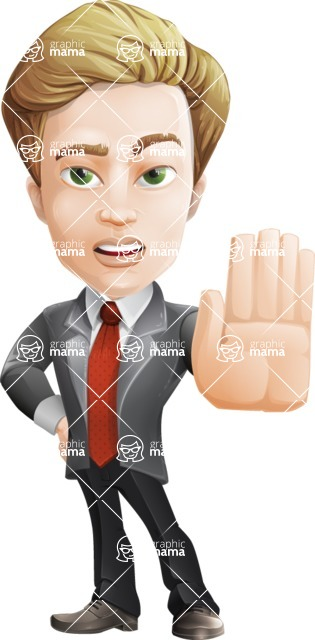 male cartoon character, elegant blond man vector - Stop