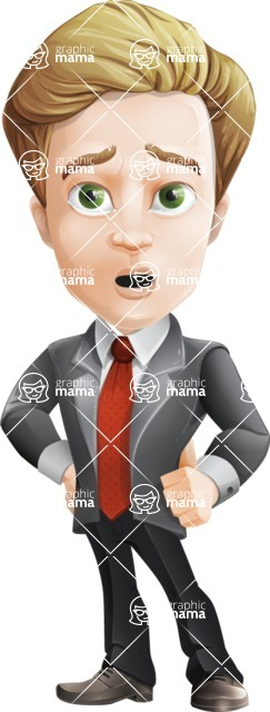 male cartoon character, elegant blond man vector - Sad