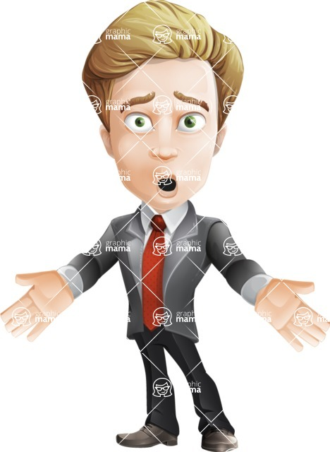 male cartoon character, elegant blond man vector - Shocked