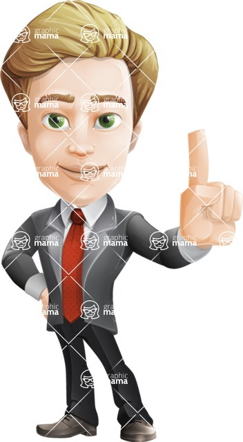 male cartoon character, elegant blond man vector - Attention