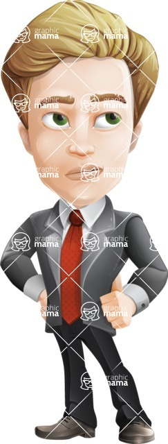 male cartoon character, elegant blond man vector - Roll Eyes