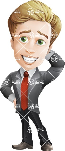 male cartoon character, elegant blond man vector - Oops