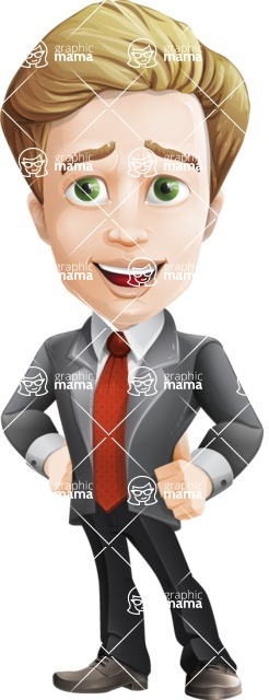 male cartoon character, elegant blond man vector - Patient