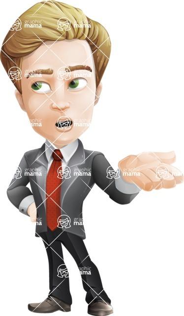 male cartoon character, elegant blond man vector - Bored