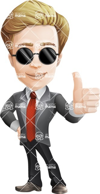 male cartoon character, elegant blond man vector - Sunglasses