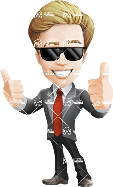 male cartoon character, elegant blond man vector - Sunglasses2