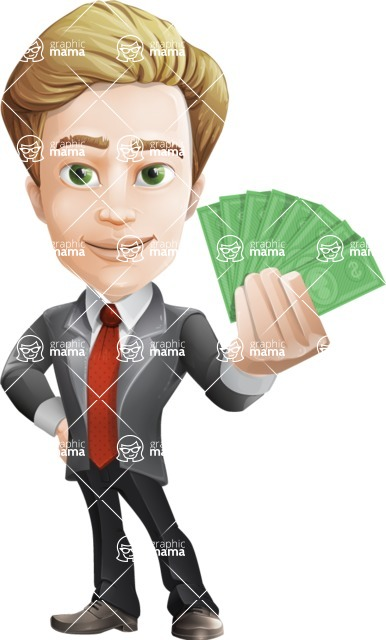 male cartoon character, elegant blond man vector - Show me the money