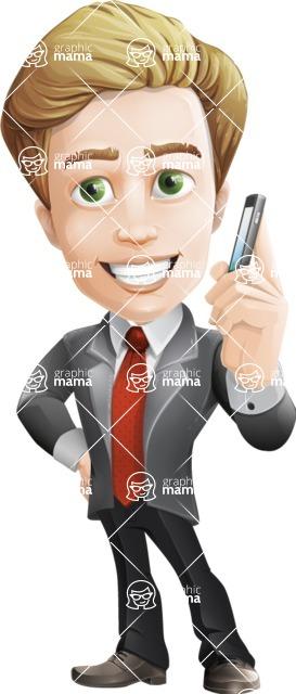 male cartoon character, elegant blond man vector - Support